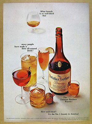 1966 Christian Brothers Brandy classic bottle cocktail glasses vintage print Ad