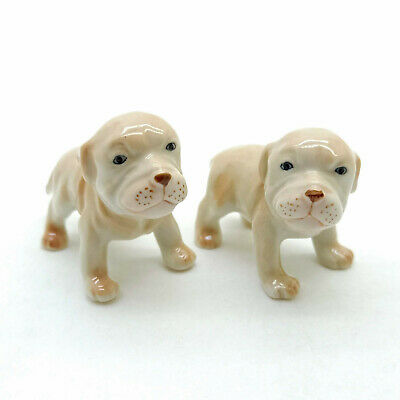 2 Pit Bull Terrier Dog Figurine Ceramic Animal Baby American Statue - CDG188