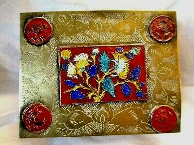 Brass Etched Floral Enamel Chinese Oriental Flowers Wood Trinket Jewelry