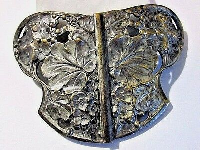 Antique Art Nouveau Butterfly Shape Brass Plate Belt Buckle Old Victorian Style