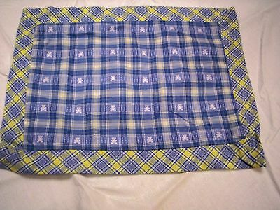 """Pillow Sham, Teddy Bear Design with Plaid Edging, Fits 9"""" x 13."""" Form, New"""
