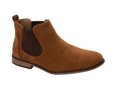 Mens Tan Faux Suede Chelsea Boots Smart Casual Desert Dealer Ankle Shoes Size