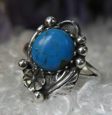 VINTAGE American West 0.925 STERLING SILVER TURQUOISE FEATHER FLOWER RING size 6
