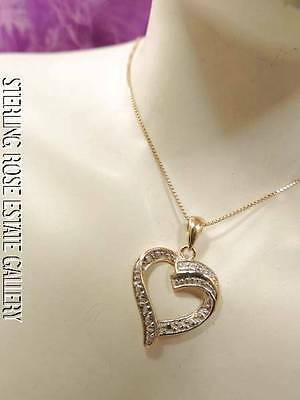 "CUTE 1"" DIAMOND OPEN HEART VERMEIL Sterling Silver Estate 18"" BOX Chain Necklace"