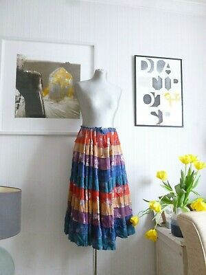 Vintage 70's Layered Patchwork Gypsy Skirt Size 10 12 14