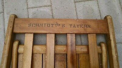Wooden Folding Chair Schmidty's Tavern Wisconsin Bar Schmidt Beer Vintage Wood