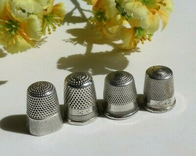 Vintage Sterling Silver SEWING THIMBLE Lot of 4  (VT194)