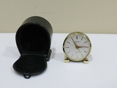 Vintage LOOPING 8 Day Antimagnetic Alarm Clock w/ Leather Case, Swiss