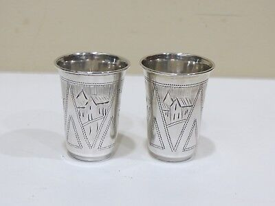 A Pair of Antique Russian 84 silver hand engraved cups