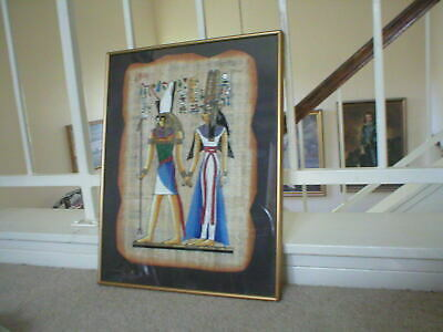 OLD HAND COLORED PAINTING ON PAPYRUS PAPER FROM EGYPT. Circa 1940
