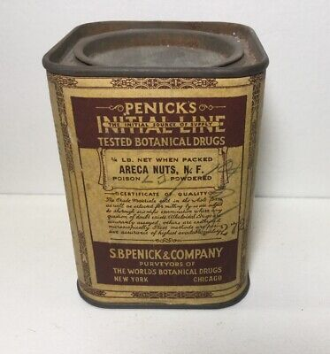 Vintage Botanical Drugs Penick's Initial Line Poison Powdered Areca Nuts, N.F.