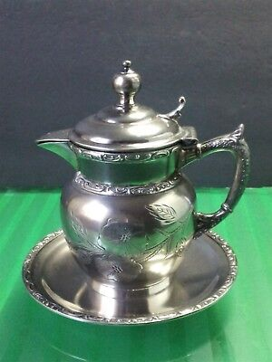 St.Louis Pelton Bros Co Antique Silverplate Set Creamer Syrup Pitcher Underplate