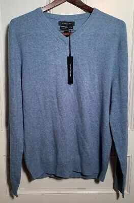NEW TAHARI PURE Luxe Mens 100% Cashmere Brown V neck Sweater