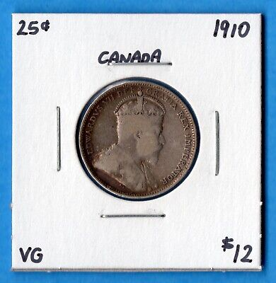 Canada 1910 25 Cents Twenty Five Cent Silver Coin - Very Good