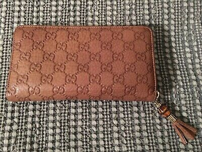 fba6540a995 NWT Authentic GUCCI Guccissima Leather Bamboo Tassel Zip Around Wallet