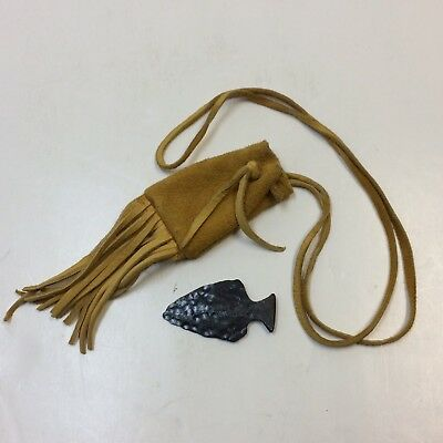 """Cast Iron Arrowhead Point 2"""" & Leather Carrying Pouch • VGUC‼ • FREE SHIPPING‼"""