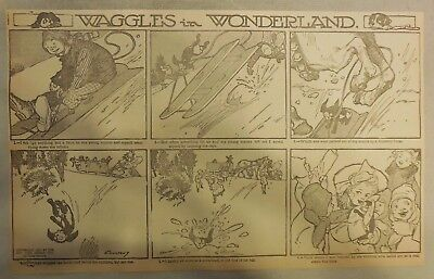 Waggles (The Dog) in Wonderland by Coultaus from 1909 Half Page Size!