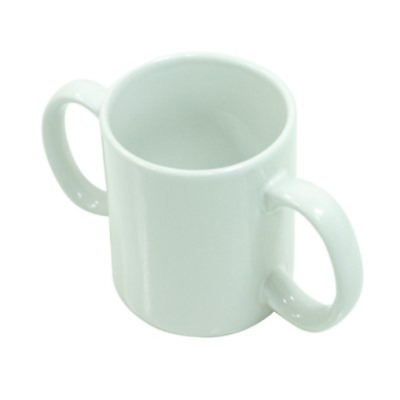 Two Handled Ceramic Mug - Two handled adult drinking aid. Pack of 1