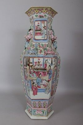 19th century antique Chinese Qing dynasty Famille rose HEXAGONAL VASE #91703