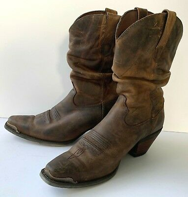 fe8ef6aa49c DURANGO CRUSH SLOUCH Brown Leather Distressed Womens 9 US Western ...