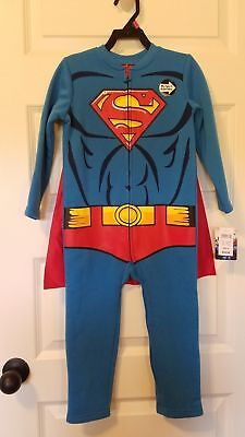 Boys Superman Costume Size 4T Fleece Coverall Zip Dress Up NWT