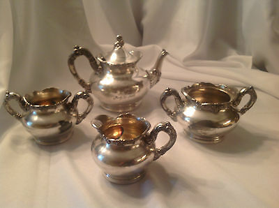 Antique FB Rogers Quadruple Silver Plate tea/coffee set  #1202 presented in 1902