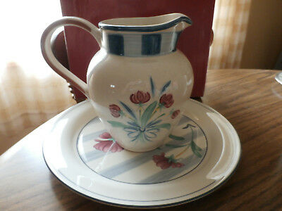 lenox - poppies on blue botanical dinner plate and pitcher - new- mint