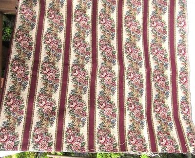 Antique New 54 X 37 Upholstery Pillo Bag Fabric Dorchester Red Floral Fabric Asc