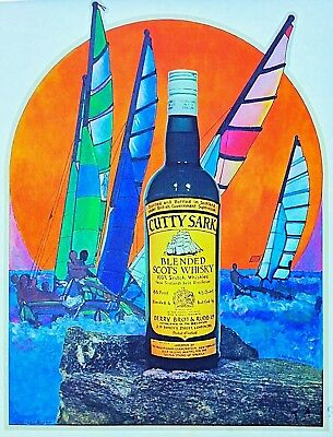 Original Vintage Cutty Sark Blended Scots Whisky Iron On Transfer