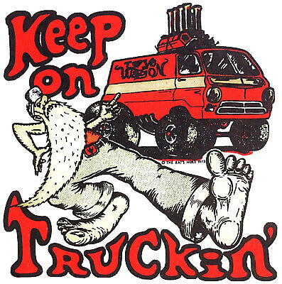 Vintage KEEP ON TRUCKIN 1973 R CRUMB Trucking Patch Cotton Embroidered OG NOS