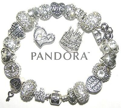 Authentic PANDORA Bracelet Silver with WIFE APRIL BIRTHDAY, LOVE European Charms