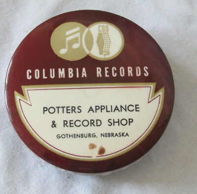 "COLUMBIA Record Cleaner Brush 1920s Advertising Celluloid Rare Nebraska 3"" Old"