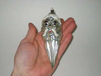 German Antique Glass Figural Santa On Spike Christmas Ornament Decoration 1900's