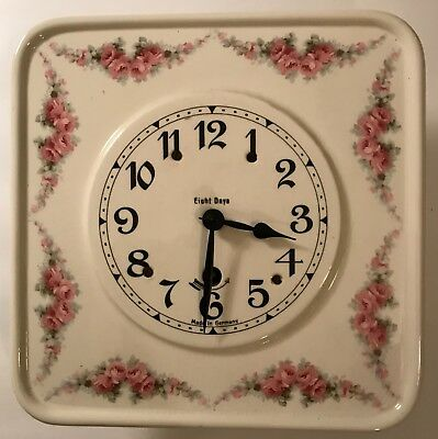 """Beautiful """"Made in Germany"""" Hanging Clock with Pendulum- Pretty Roses"""