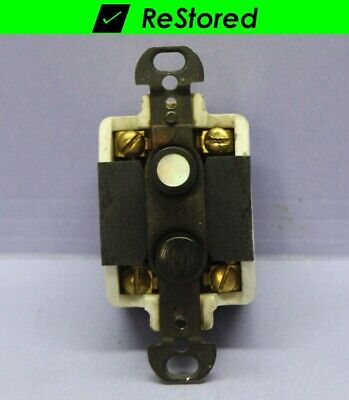 Vintage Push Button Momentary Switch - Porcelain Pearl - 2-Circuit  2-S-P - H&H