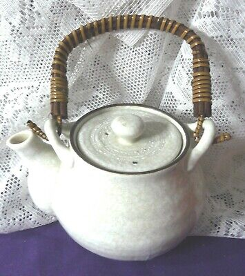 Teapot White Speckel Clay Asian Mark Antique-Vintage Real Wood Handle EUC