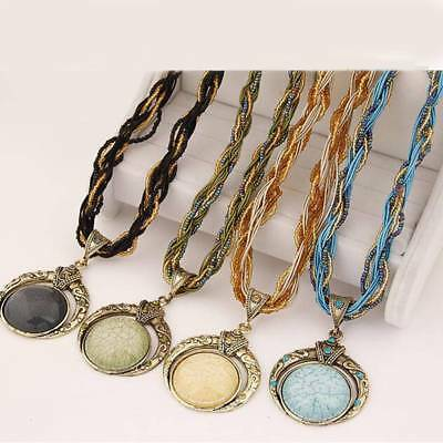 Retro Boho Style Multilayer Bead Chain Crystal Grain Pendant Necklace Jewelry