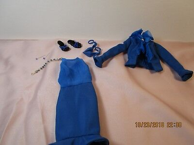 Barbie Silkstone  Blue outfit with jewelry