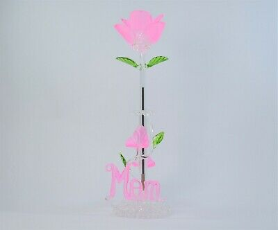 Mom Light Pink Rose Flower Pen and Stand  of Blown Glass