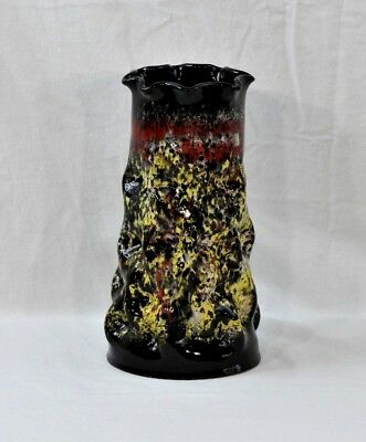 Black Cylinder Vase Rare Dimpled & Ruffled Rim w/ Mottled Red Yellow Drop Glaze
