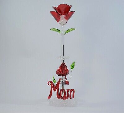 Mom Red Rose Flower and Stand Pen Figurine of Blown Glass