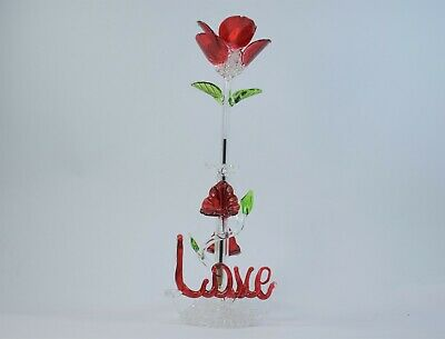 Love Red Rose Flower and Stand Pen Figurine of Blown Glass