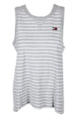 684350ea7 Tommy Hilfiger Grey Heather White Sleeveless Striped High-Low Tank Top L  MSP:$39