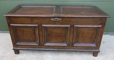 Antique Georgian Panelled Oak Blanket Box Coffer Chest, Nice Country Piece
