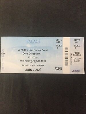 One Direction unused concert ticket 2013