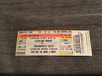 2008 Cleveland browns  vs Indianapolis Colts football ticket