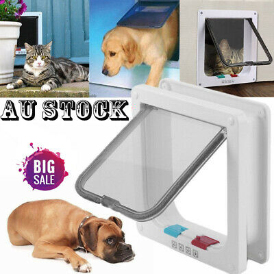 4 Way Lockable Locking Pet / Cat / Small Dog Flap Door in White Size L Large AU