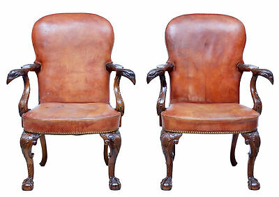 Rare Pair Of Mid 20Th Century Carved Mahogany Armchairs