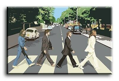 Large Wall Art Canvas Print of Beatles Abbey Road Graphics Framed