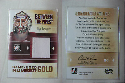 2010-11 Between The Pipes M-19 Ilya Bryzgalov 1/1 number gold 1 of 1